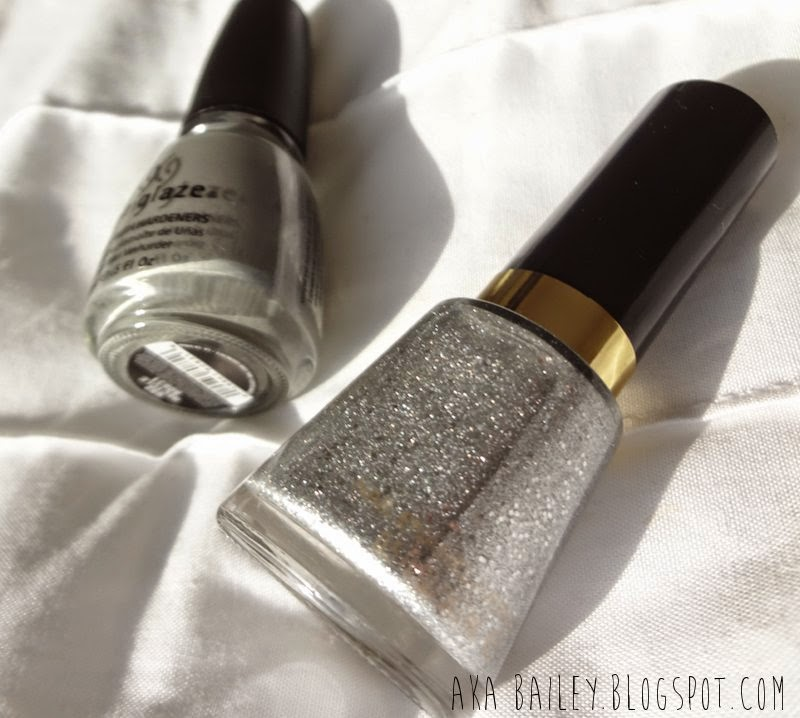 Revlon Diamond Texture silver sparkle nail polish and China Glaze Recycle nail polish