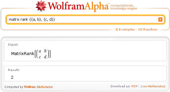 Wolfram|Alpha по-русски. Ранг матрицы. Matrix rank.