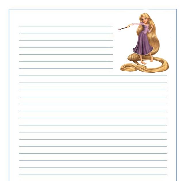 Rapunzel con su pincel papel de carta infantil para ni os for Papel decomural para ninos