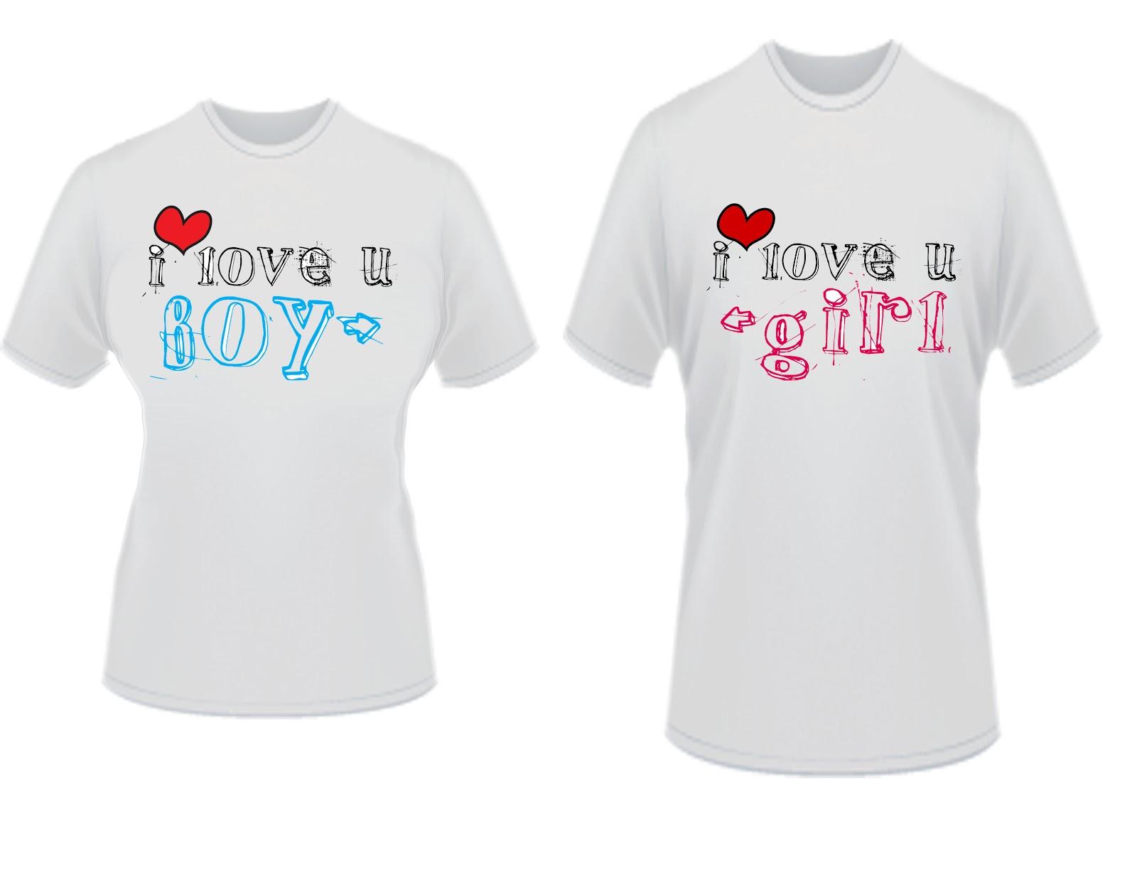 Shirt design for couples - I Love U Boy Girl