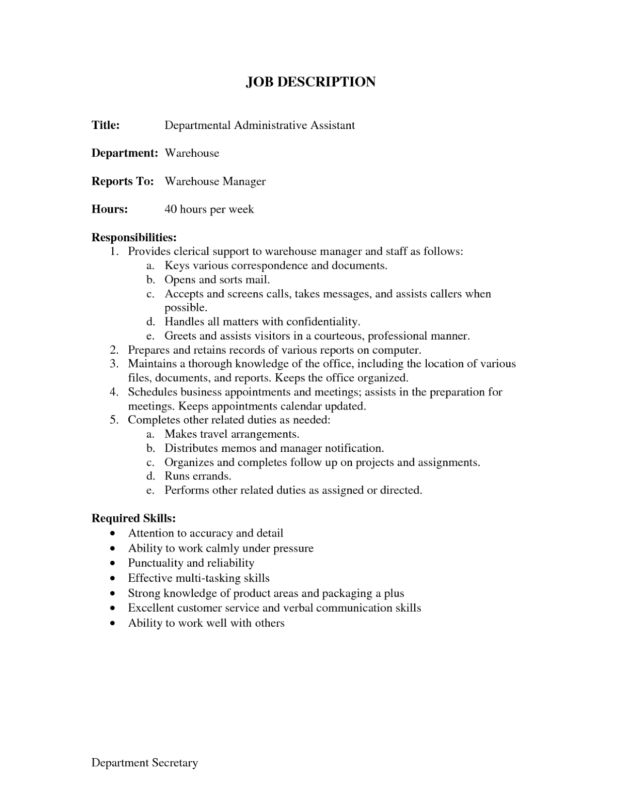 job description for administrative assistant for resume