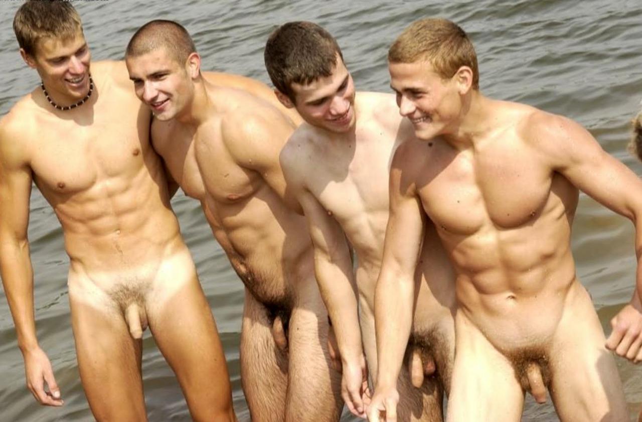 Nude men in rain — photo 12