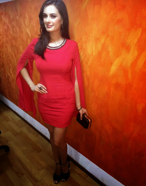 Evelyn Sharma in Red Dress For Kuch Kuch Locha Hai Movie Promotional Event Photos