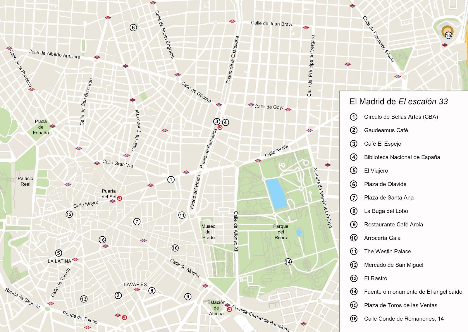 """Mapa del Madrid de """"El escalón 33·"""