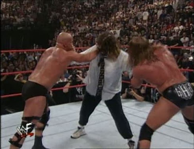 WWF SummerSlam 1999 Stone Cold Steve Austin vs Triple H vs Mankind WWF Championship