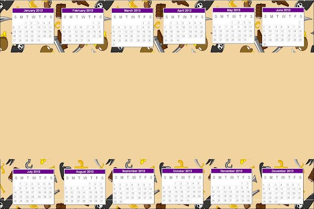Calendario 2013 para imprimir gratis de piratas.
