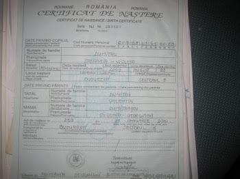 Certificat nastere''Stefania''