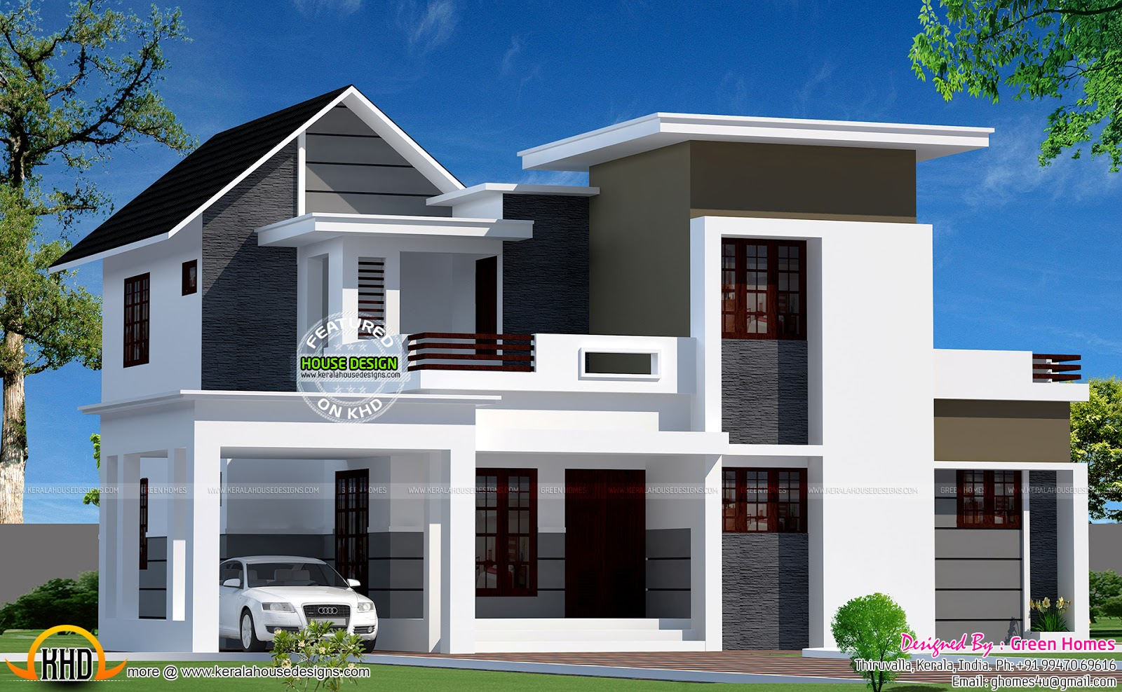 Neat looking mixed roof home kerala home design and - Home design at sq ...