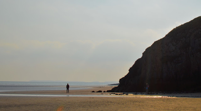 Man silhouette on beach