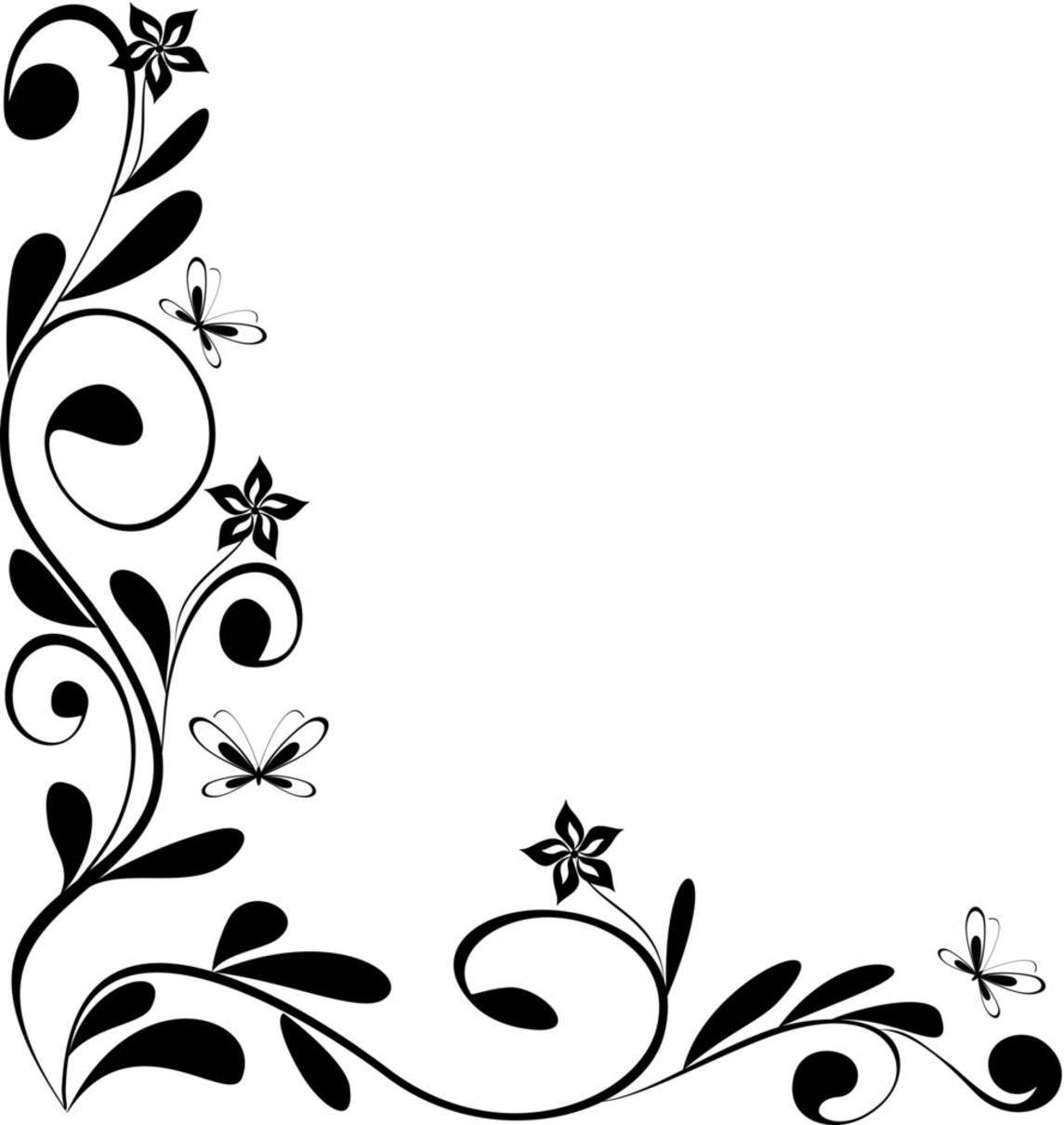 Best and beautiful black and white floral corner borders for frames
