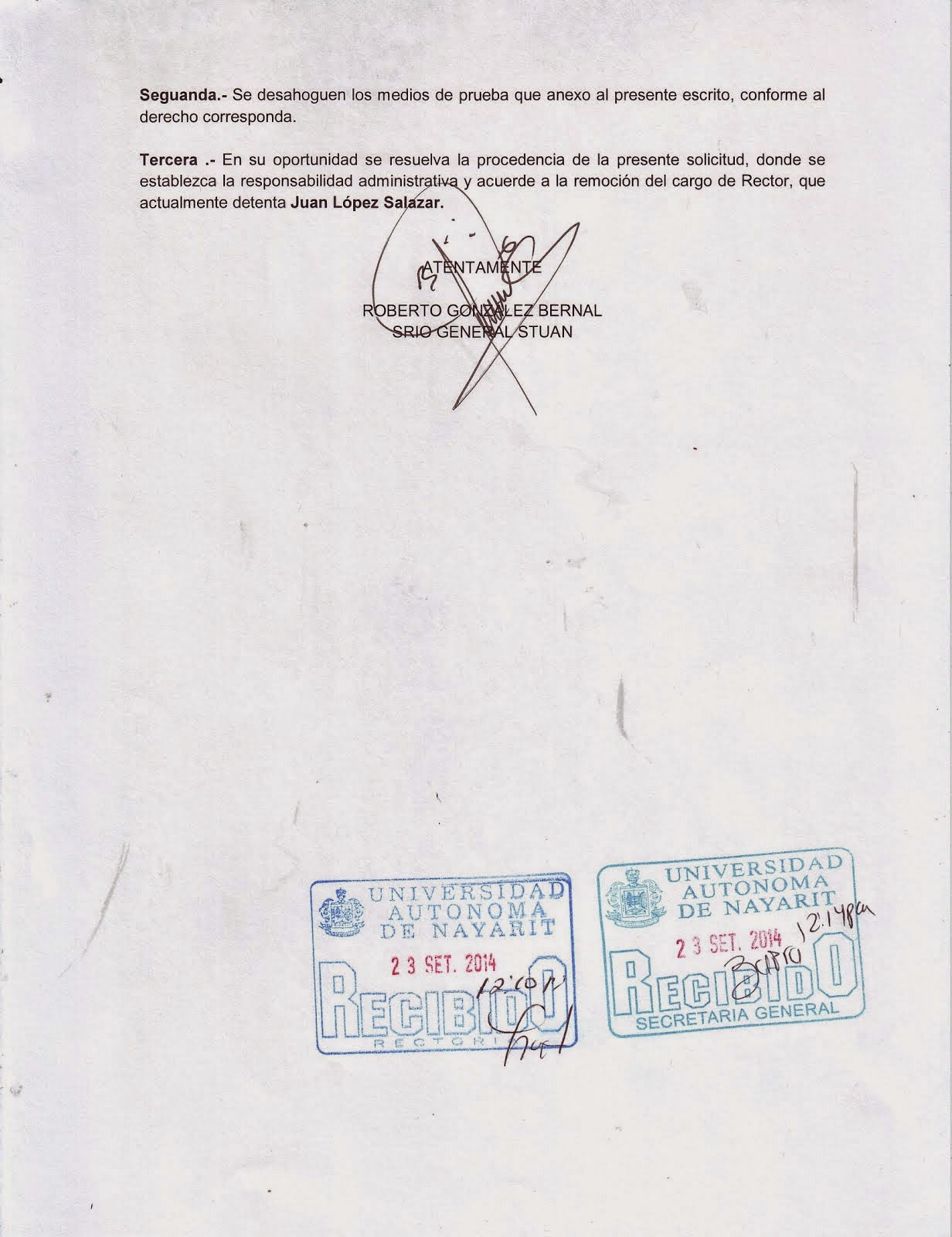 SOLICITUD DE REMOCION RECTOR