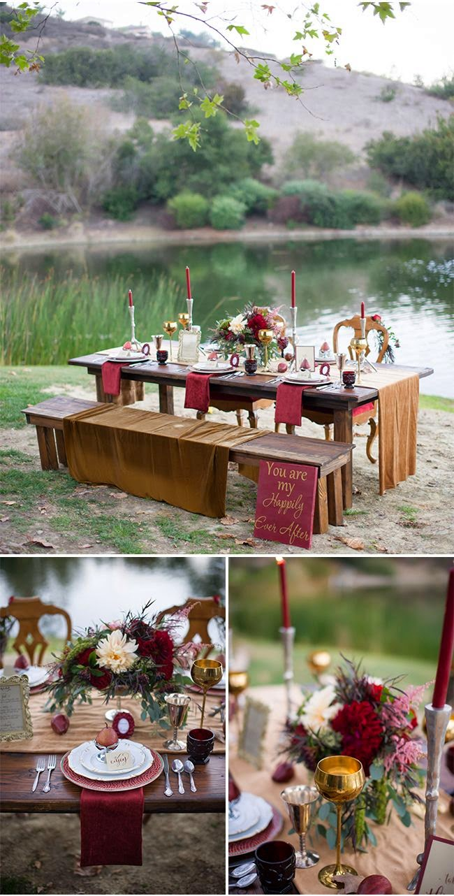 outdoor burgundy themed reception