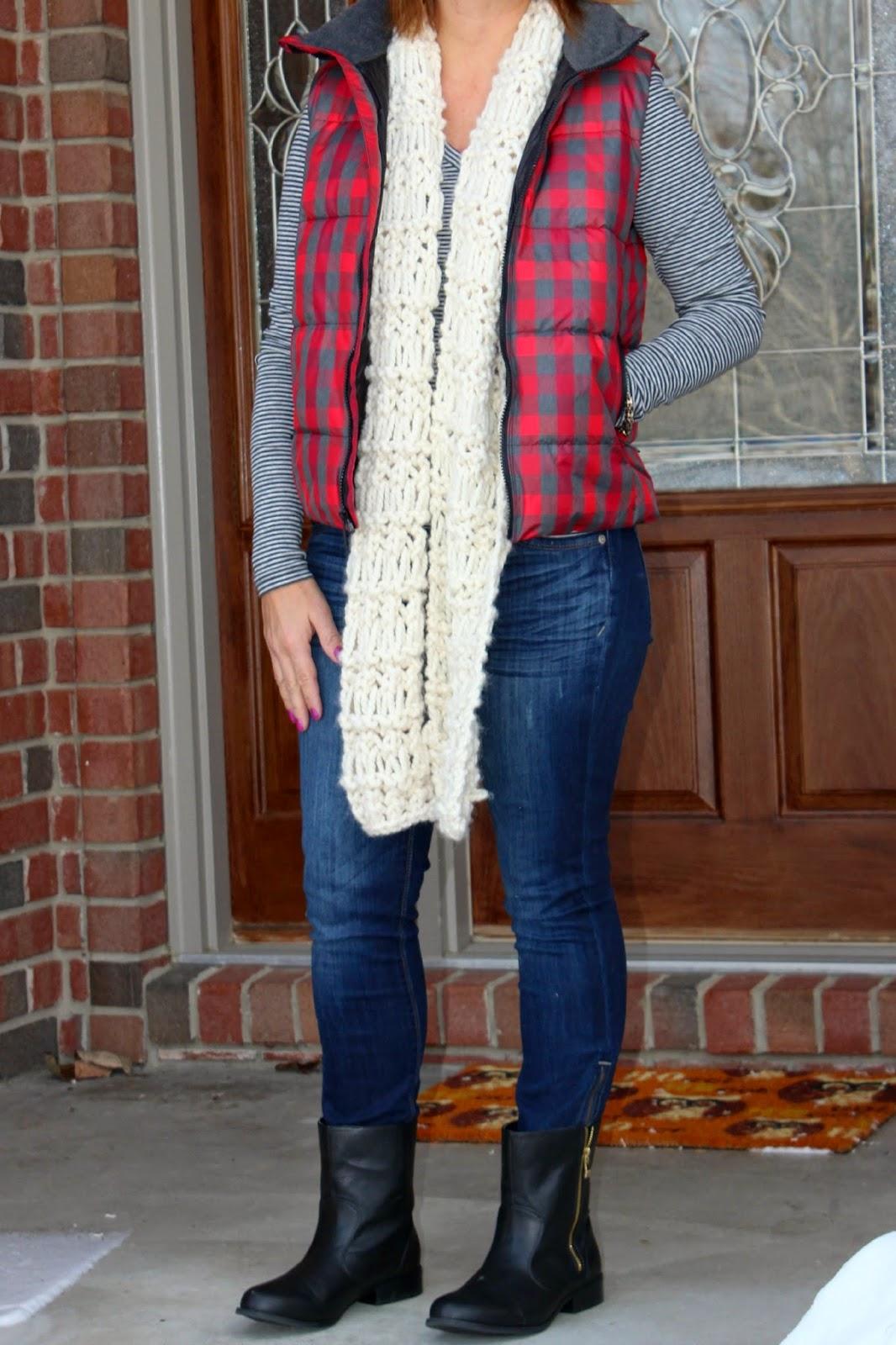 Plaid puffer vest, handmade scarf, striped shirt, pattern mixing, moto boots