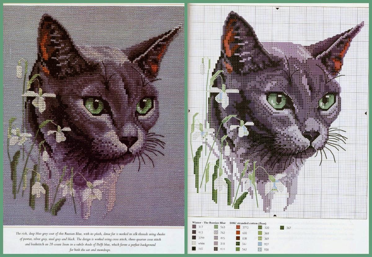 Кошки схемы вышивки гладью