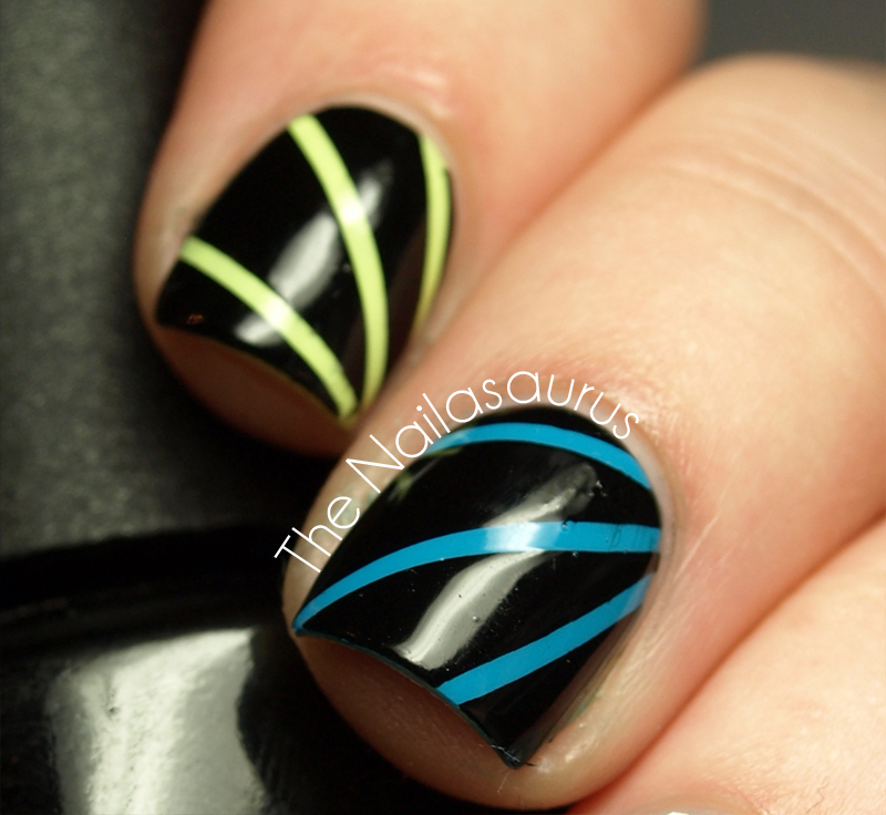 Nail Art Using Striping Tape: Laser (Disco, Moonbeam?) Nail Art Tutorial