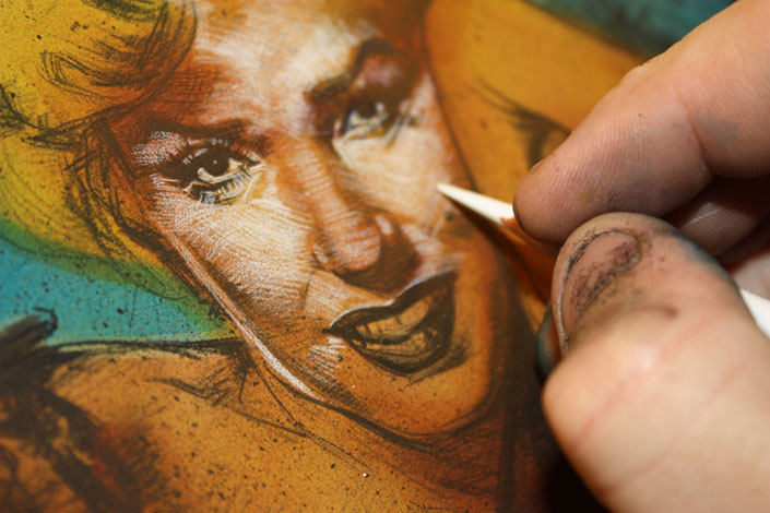 Marilyn Monroe WIP, Artwork Copyright © 2014 Jeff Lafferty