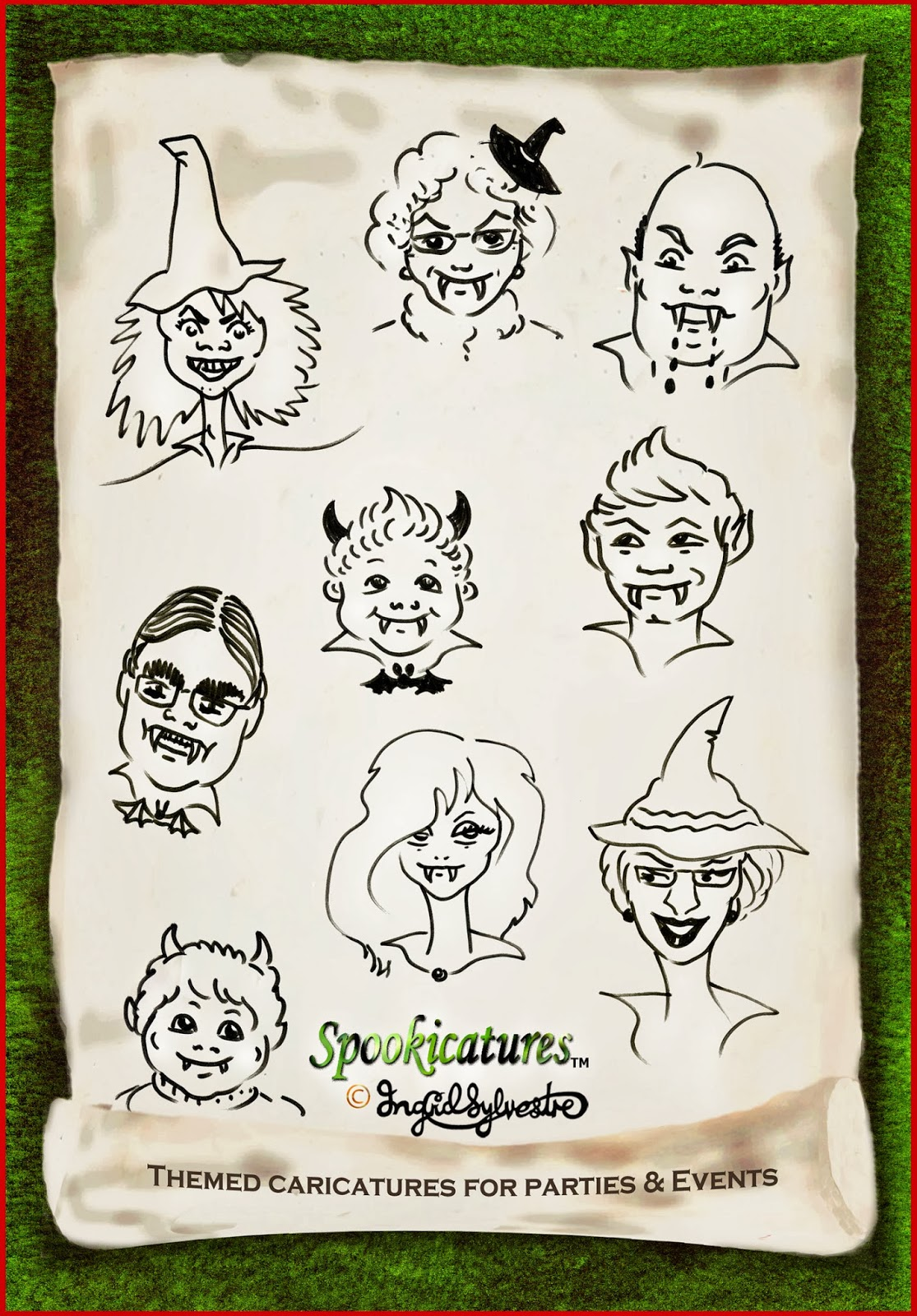 Spookicatures TM - themed caricatures for parties and events - Ingrid Sylvestre caricaturist UK & worldwide