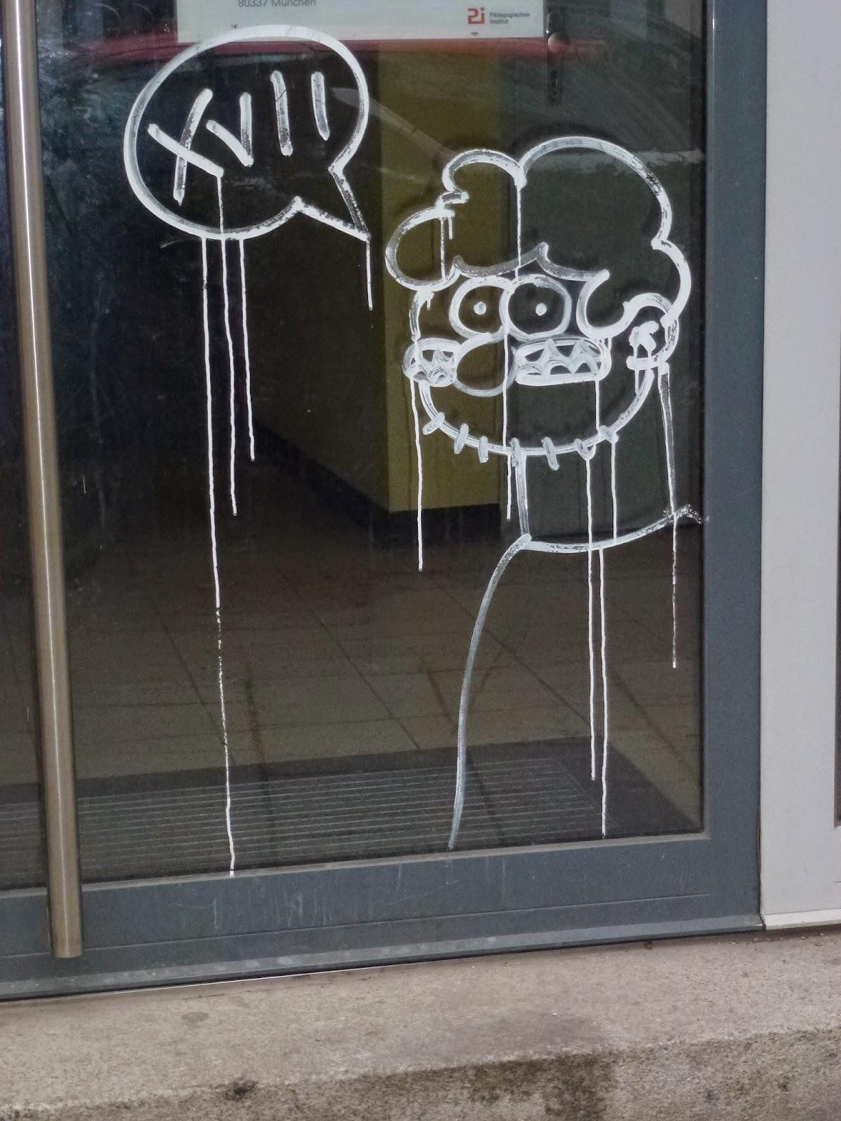 XVII - an Scheibe, Streetart, Graffiti