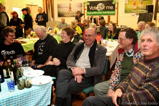 L-R: Marilyn Scott, John Ruth, Barbara Byford, Malcolm Byford, Roger McNeill, all from Hastings,with Andrew Seager from Te Hauke, pictured at a combined election night party for the Green Party in the Tukituki, Napier and Ikaroa Rawhiti electorates, at St Martin's Hall, Hastings. photograph