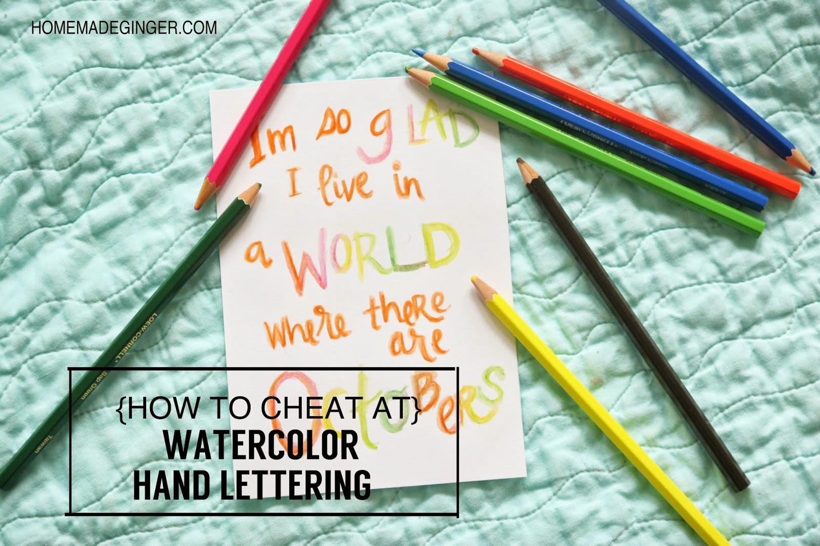watercolor pencil hand lettering tutorial
