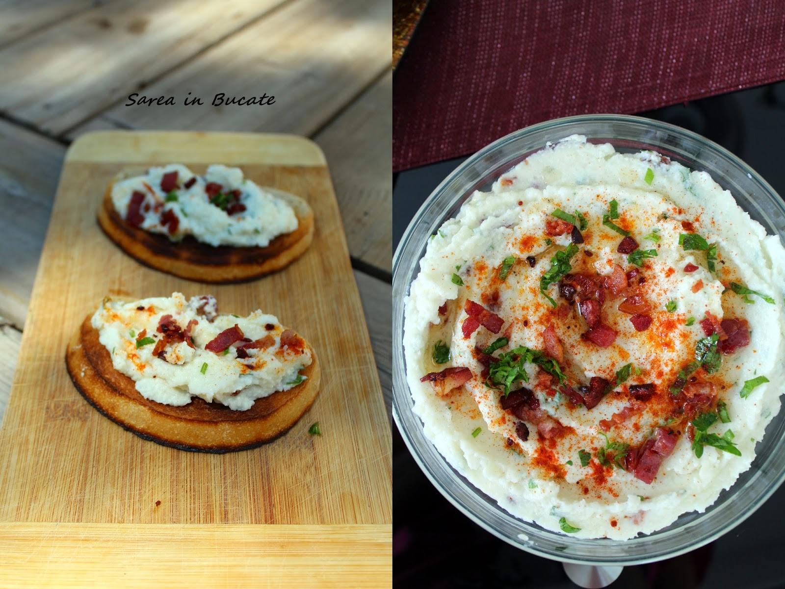 salata de conopida cu bacon crocant/ cauliflower dip with crispy bacon