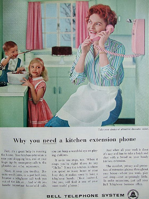 vintage 50s retro rotary wall phone pink ad  housewife Just Peachy, Darling