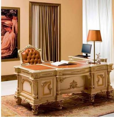 meja kantor jati classic duco putih mewah,furniture mebel jati klasik,furniture classic jepara,code classic furniture A207