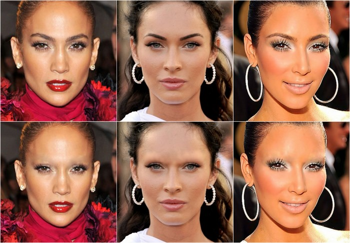 Celebrities - No brow before and after