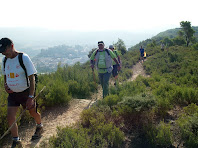 El camí de pujada al Turó de la Senyera, amb el Castell de Puig-reig al fons