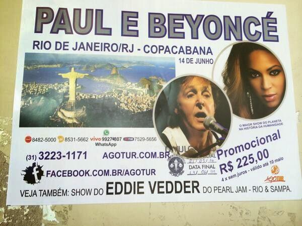 Empresa vende ingressos para show imaginário de Paul McCartney na Copa