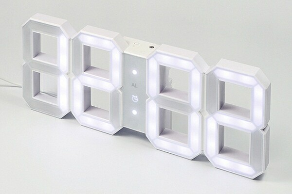 White &amp; White LED Clock