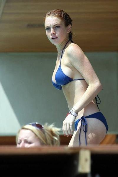Celebrities in blue swimsuit