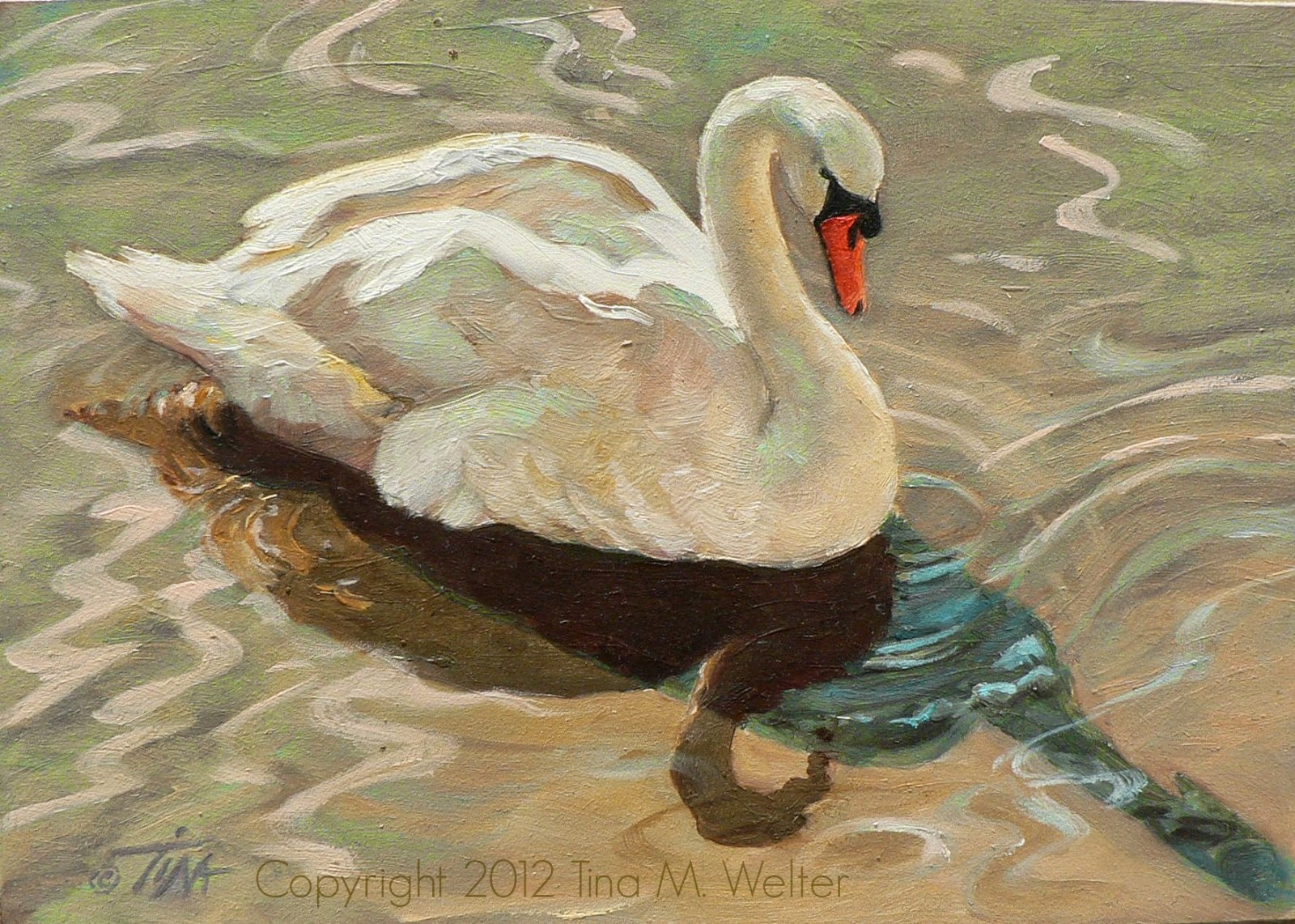 "5""x 7"" oil on ""Gessobord"", copyright 2012 Tina M. Welter"