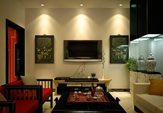 Stunning false ceiling led lights and wall lighting for for Living room overhead lighting