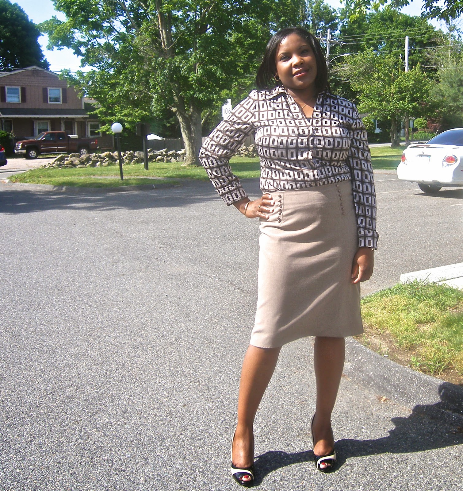 Brown Printed blouse, AGB macy's skirt, pencil skirt for apple shape, modest pencil skirt