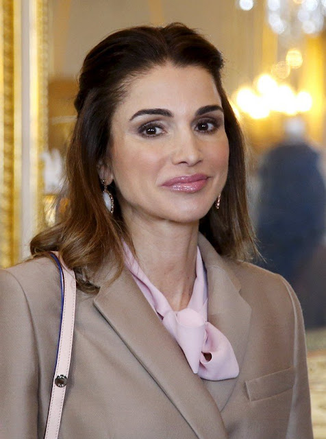 Queen Mathilde of Belgium welcomes Jordan's Queen Rania before a meeting in Brussels