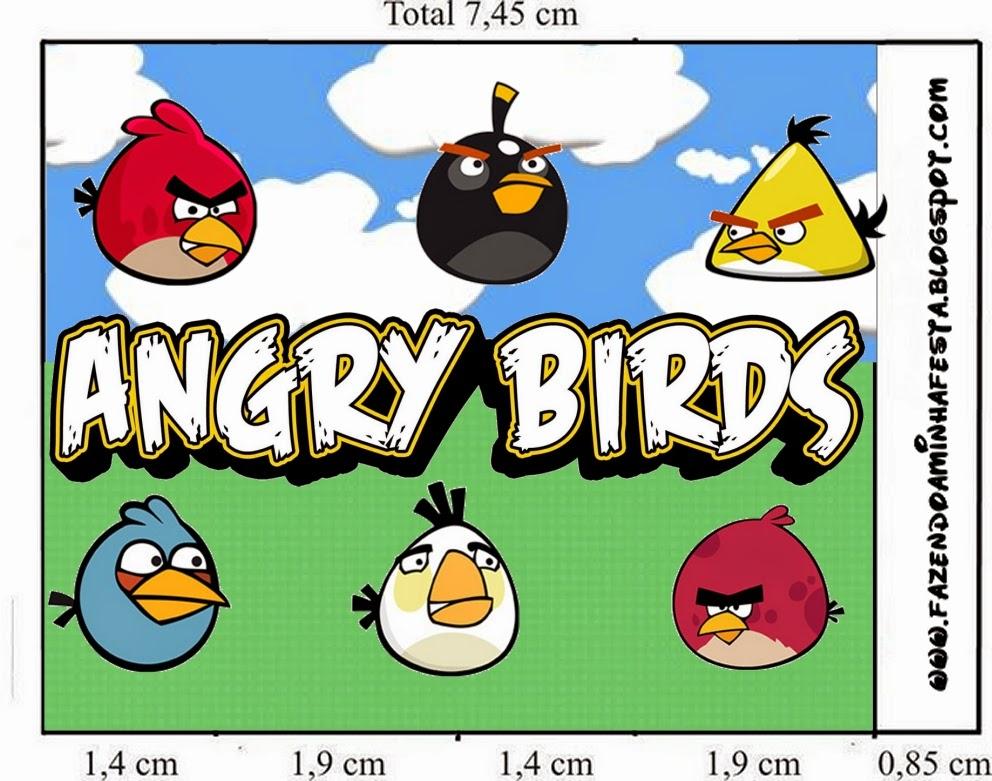 Etiquetas de Angry birds con Nubes para imprimir gratis.