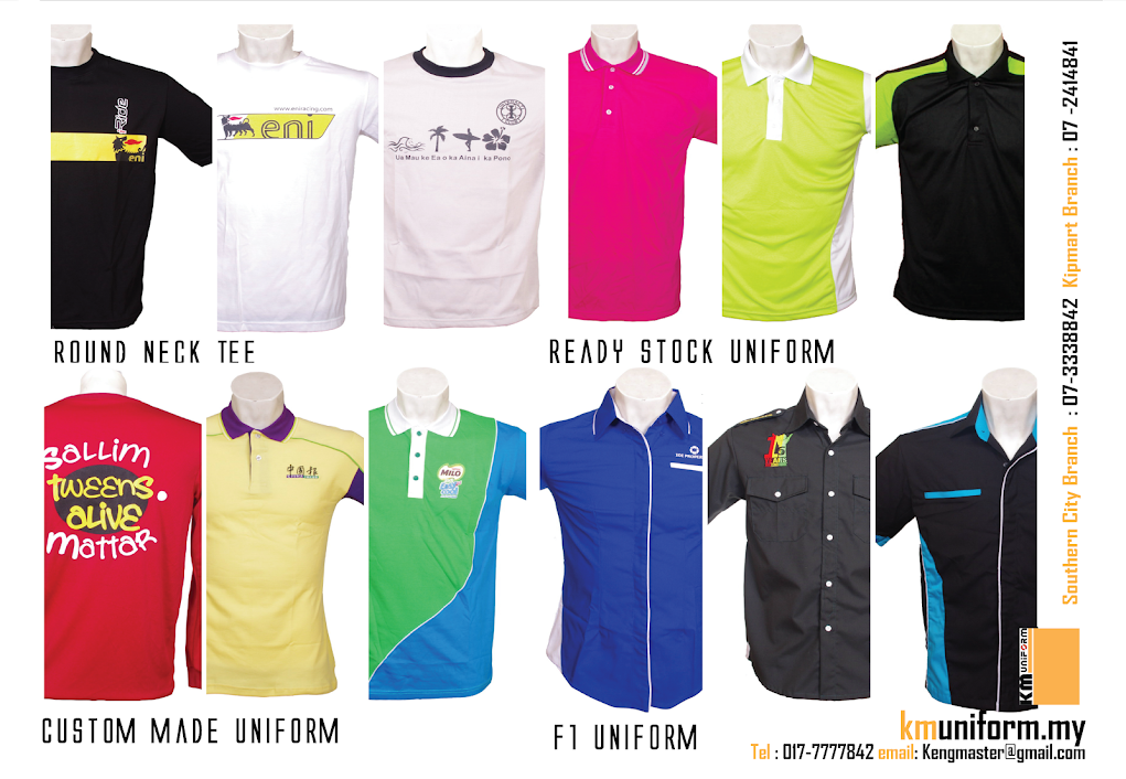 Uniform supplier in johor bahru km uniform for T shirt supplier wholesale malaysia