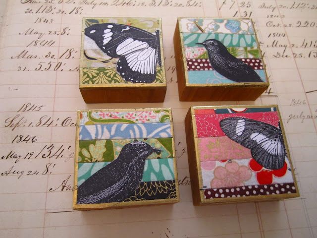 Magnets with birds and butterflies on them.