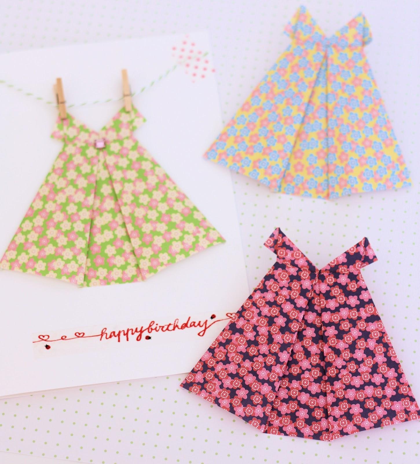 origami dress card a spoonful of sugar