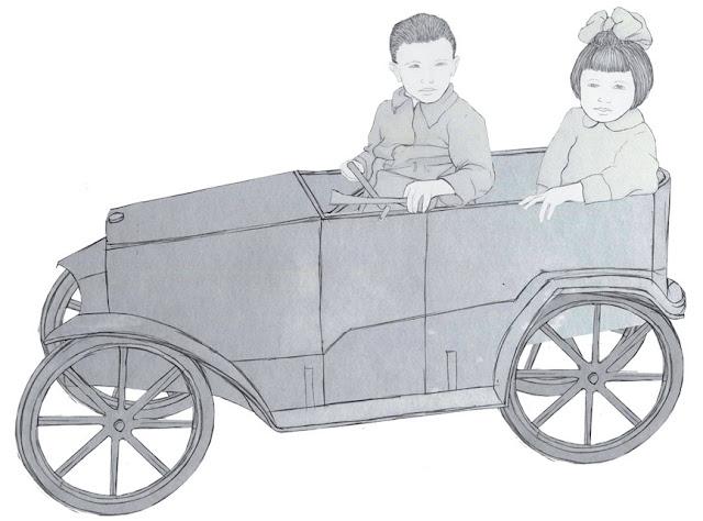coche pedales, juguete,  niños, años 20. dibujo