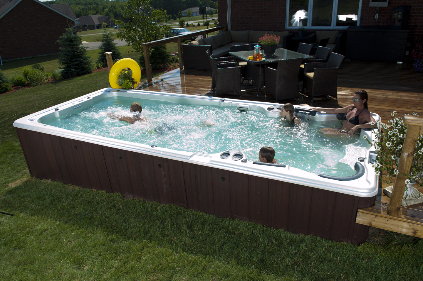 Atlantic spas and billiards get real with us on pintrest for Pool design with hot tub