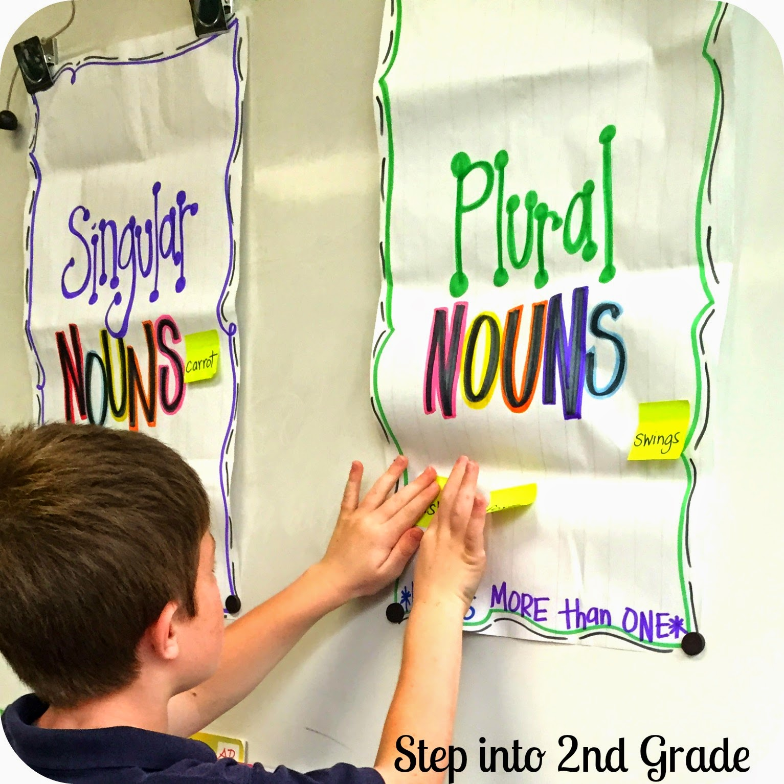 Singular and plural nouns step into 2nd grade with mrs lemons notes with a mix of singular and plural nouns i gave one sticky note to each student they read it to the class and stuck it to the correct chart reviewsmspy