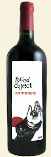 bottle of Found Object Carmenere wine