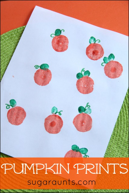 Pumpkin Print Craft with Thumbprints for a Halloween Keepsake