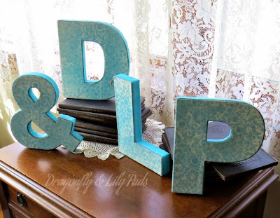 Dragonfly & Lily Pads, Initials completed project, Antique Books, Sewing machine, living room.