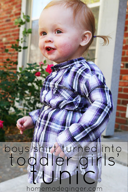 little girl in blue plaid tunic made from boys button down shirt