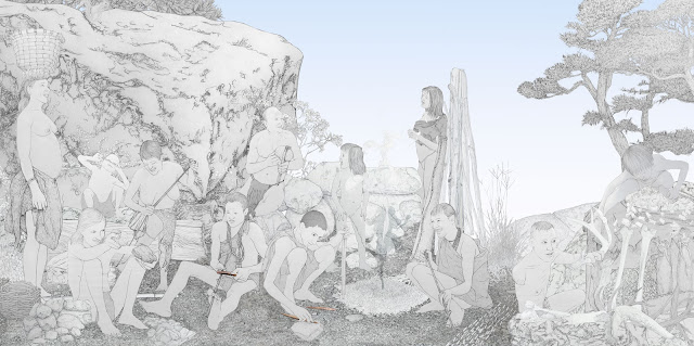 constuir herramientas, grupo humano, mujeres,  prehistoria, dibujo