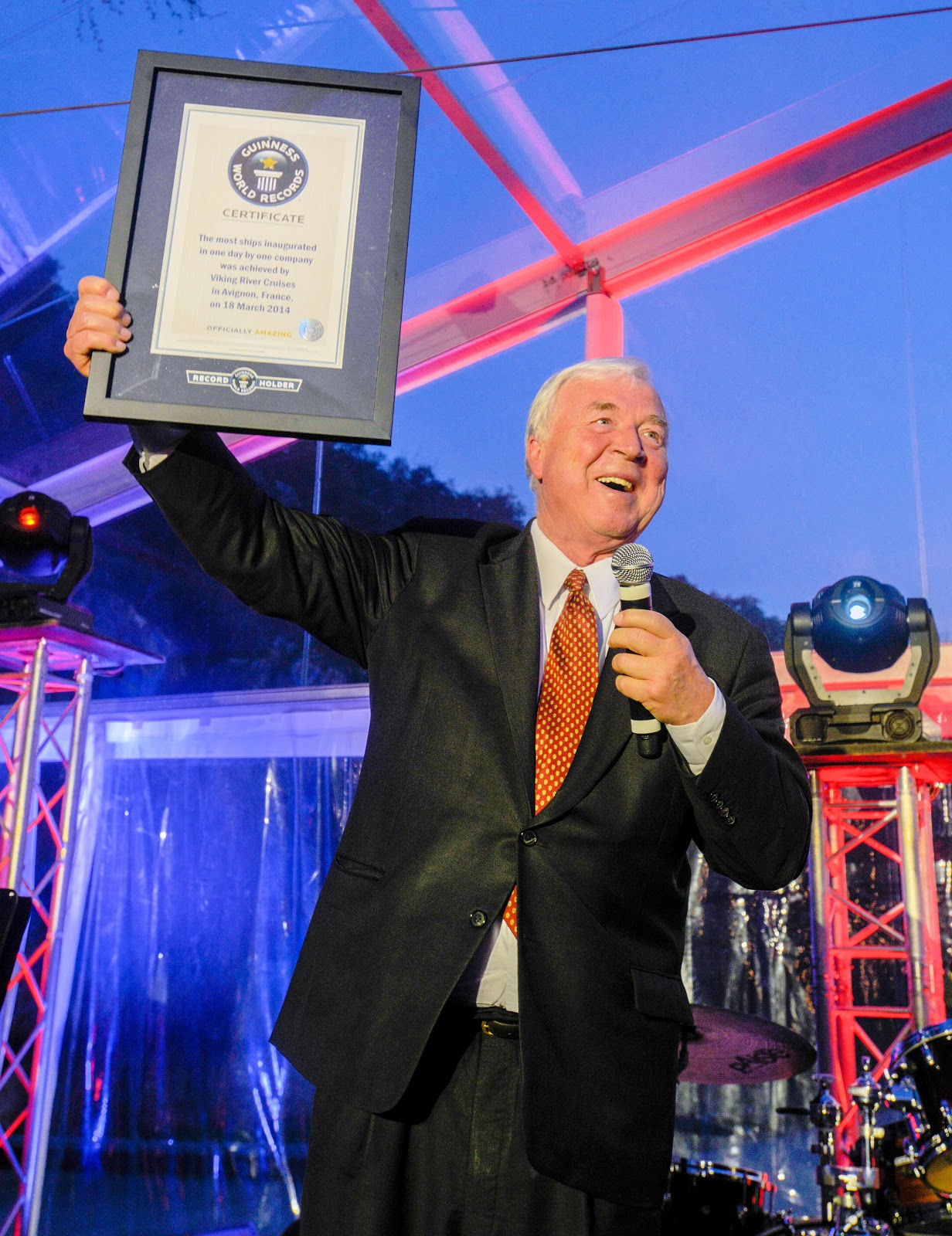 Viking Chairman Torstein Hagen proudly displays his Guinness World Records certificate. Photo: Courtesy of Viking Cruises. Unauthorized use is prohibited.