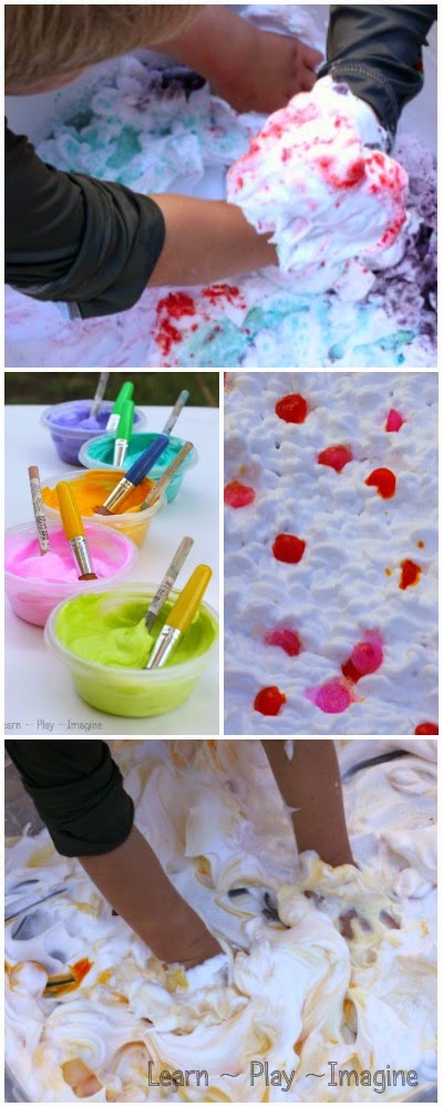 How to host a messy play date with a shaving cream theme - so many ideas for messy play that is easy to clean!